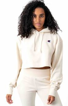 Reverse Weave Cropped Cut Off Pullover Hoodie - Chalk White