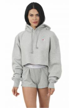 Reverse Weave Cropped Cut Off Pullover Hoodie - Oxford Grey