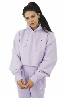 Reverse Weave Cropped Cut Off Pullover Hoodie - Pale Violet Rose
