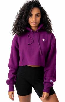 Reverse Weave Cropped Cut Off Pullover Hoodie - Venetian Purple
