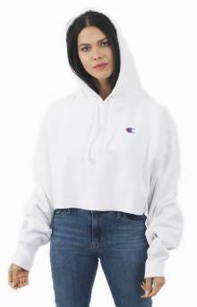 Reverse Weave Cropped Cut Off Pullover Hoodie - White