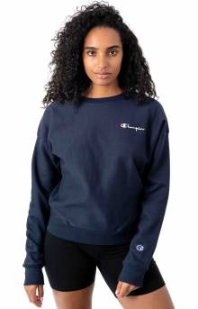 Reverse Weave Embroidered Script Crewneck - Navy
