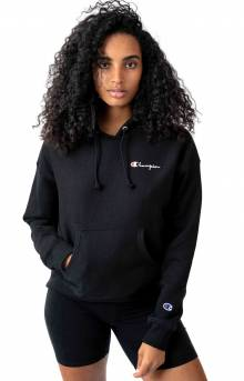 Reverse Weave Embroidered Script Pullover Hoodie - Black