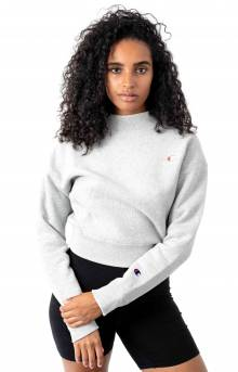 Reverse Weave Mock Neck Crop Crewneck - Oxford Grey