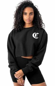 Reverse Weave Old English Lettering Cropped Cutoff Crewneck - Black