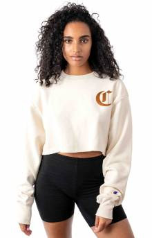 Reverse Weave Old English Lettering Cropped Cutoff Crewneck - Chalk White