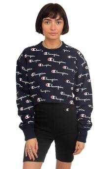 RW All Over Multi Scale Script Cropped Cutoff Crewneck - Navy
