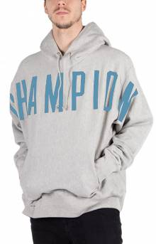 Reverse Weave Oversized Champion Script Pullover Hoodie - Oxford Grey
