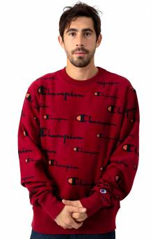 RW All Over Multi Scale Script Crewneck - Cherry Pie