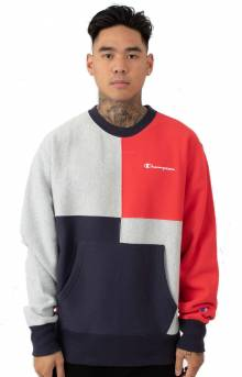 RW Colorblock Crewneck w/ Pouch - Navy/Oxford Grey/Scarlet