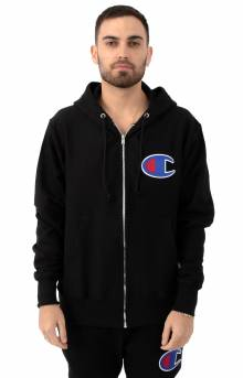 RW Full Zip Chainstitch C Logo Hoodie - Black