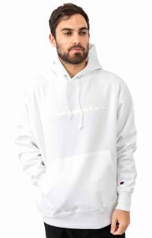 RW Mesh & Leather Script Pullover Hoodie - White