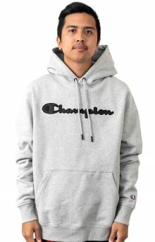 Super Fleece 2.0 Quilted Script Applique Pullover Hoodie - Oxford Grey