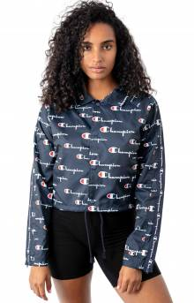 All Over Multi Scale Script Cropped Coaches Jacket - Navy