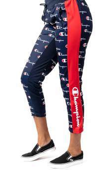 All Over Multi Scale Script Tricot Slim Track Pant w/ Champion Taping