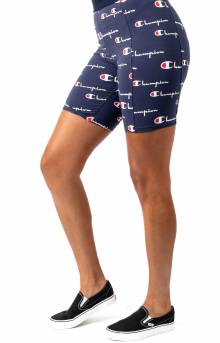Everyday All Over Multi Scale Script Bike Short - Navy