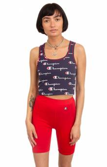 Everyday All Over Multi Scale Script Crop Top - Navy