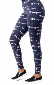 Everyday All Over Multi Scale Script Legging - Navy