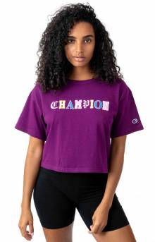 Heritage Old English Lettering Cropped T-Shirt - Venetian Purple