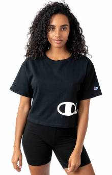 Heritage Wrap Around Script Cropped T-Shirt - Black