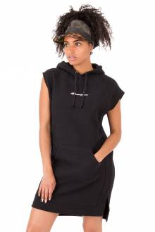 Reverse Weave Dress With Hood - Black