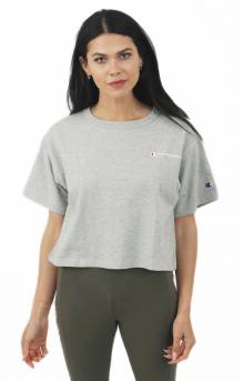 Script Embroidered Crop T-Shirt - Oxford Grey