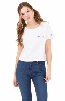 Script Embroidered Crop Tee - White