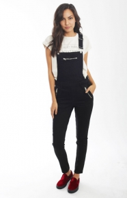 Cheap Monday Womens Clothing, Zip Dungaree - Black