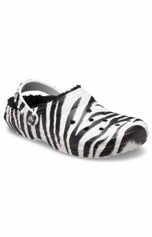 Classic Lined Animal Print Clogs - Black/Zebra Print