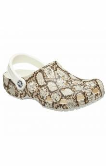 Classic Snake Print Clogs - Oyster