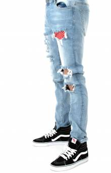 (CRYSPH118-112) Serpens Denim Jeans - Light Blue Ripped