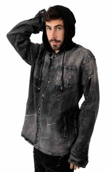 Walsh Denim Hooded Shirt - Black