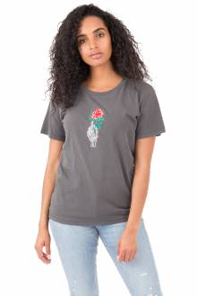 Skeleton Carnation T-Shirt - Washed Black