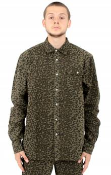 Cheetah L/S Woven Button-Up Shirt - Olive
