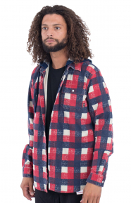 Hooded Plaid Flannel Shirt - Red
