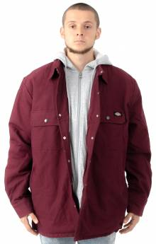 Relaxed Fit Icon Hooded Duck Quilted Shirt Jacket - Burgundy
