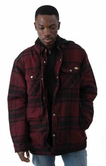 (TJ201) Relaxed Fit Icon Hooded Quilted Shirt Jacket - Dark Port/Black Plaid