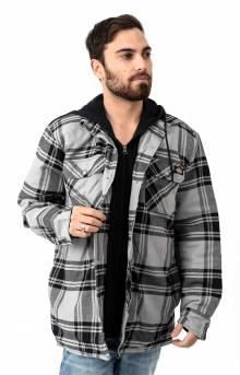 (TJ201POK) Relaxed Fit Icon Hooded Quilted Shirt Jacket - Gray/Black Plaid