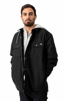 (TJ203bl) Relaxed Fit Icon Hooded Duck Quilted Shirt Jacket - Black