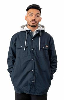 (TJ203DN) Relaxed Fit Icon Hooded Duck Quilted Shirt Jacket - Dark Navy