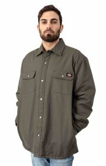 (TJ205MS) Plaid Lined Shirt Jacket - Moss Green