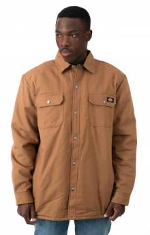 (TJ215BD) Flannel Lined Duck Shirt Jacket with Hydroshield - Brown Duck