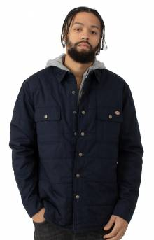 (TJ248DN) Woven Quilted Hooded Jacket - Dark Navy