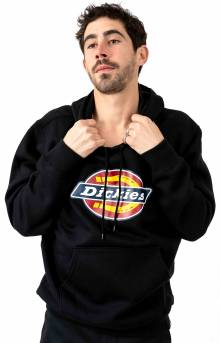 (TW45ABK) Relaxed Fit Logo Fleece Pullover Hoodie - Black
