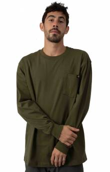 (WL450ML) Long Sleeve Heavyweight Crew Neck Shirt - Military Green