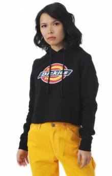 Cropped Fleece Pullover Hoodie - Black
