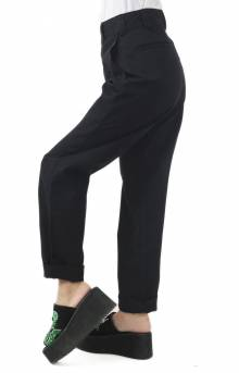 Work Crop Roll Hem Relaxed Fit Pant - Black