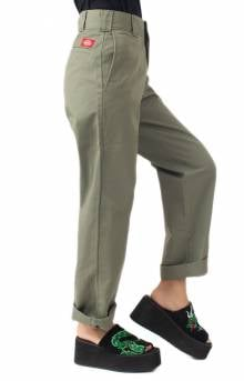 Work Crop Roll Hem Relaxed Fit Pant - Olive