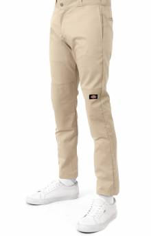 (WP811DS) Flex Skinny Straight Fit Double Knee Work Pants - Desert Khaki