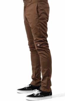 (WP811TB) Flex Skinny Straight Fit Double Knee Work Pants - Timber Brown